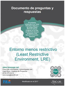 Least Restrictive Environment (LRE) Q and A image in Spanish